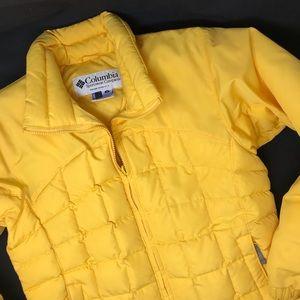 Columbia yellow puffer jacket